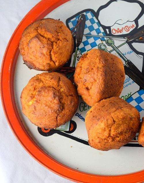 Plate Full of Chipotle Cornbread Muffins