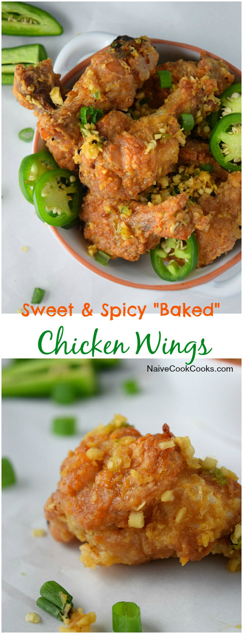 Sweet & Spicy Baked Chicken Wings for Pinterest