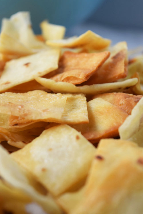 Fried Tortilla Chips for Baked Bean Taco Salad