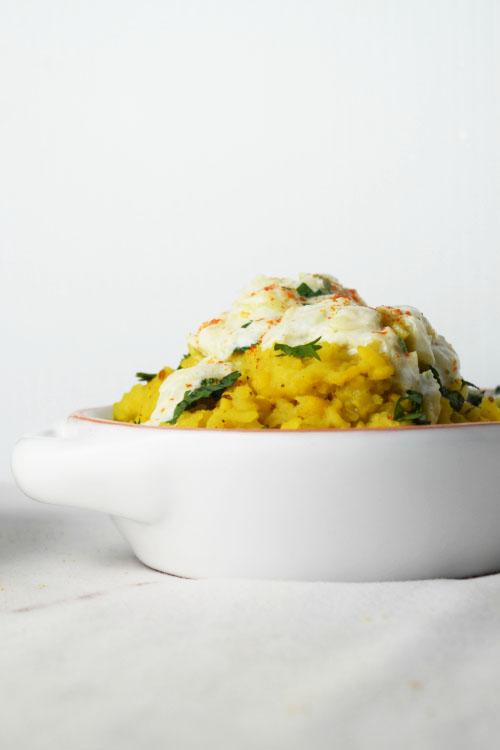 One Pot Lentils and Rice with Cucumber Yogurt - Simple Khichdi Recipe