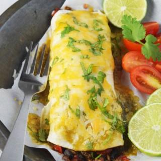 Salsa Verde Smothered Veggie Burrito