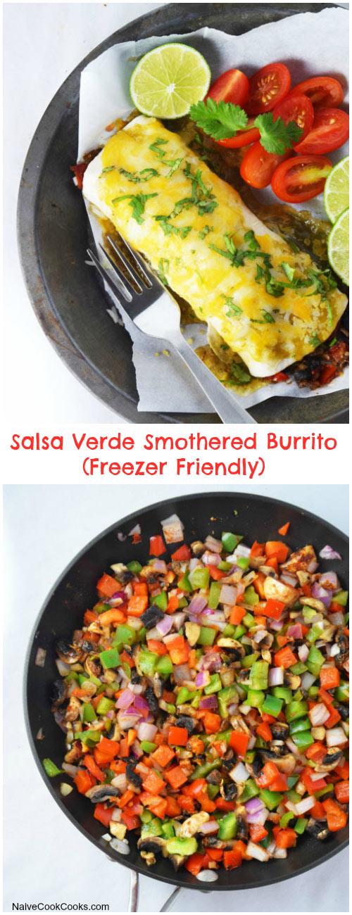 Salsa Verde Smothered Veggie Burrito for Pinterest