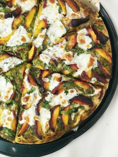 Almond Pesto Pizza With Peach & Spinach 1