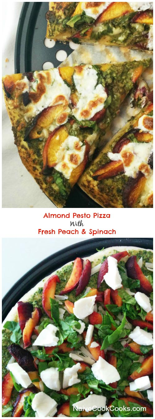 Almond Pesto Pizza With Peach & Spinach for Pinterest
