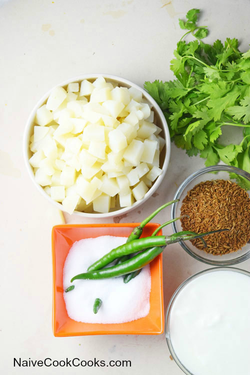 Ingredients for Creamy Cilantro Potato Salad