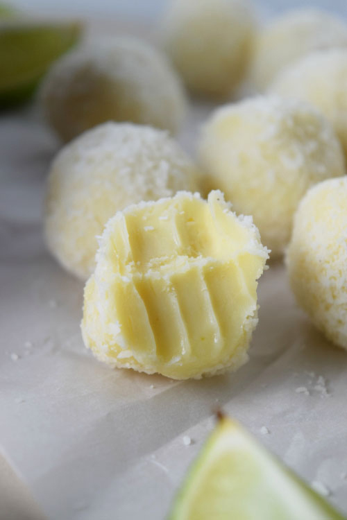 Inside of Tropical White Chocolate Truffles