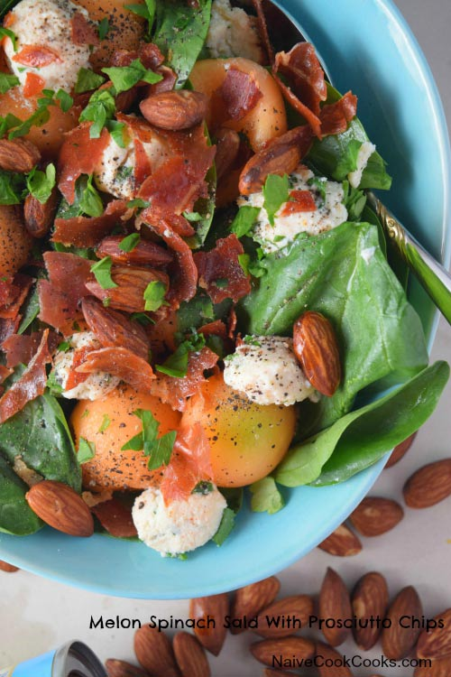 Melon Spinach Salad With Prosciutto Chips