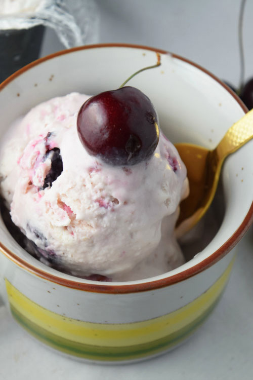 No Churn Bourbon Cherry Ice Cream Ready for a Bite