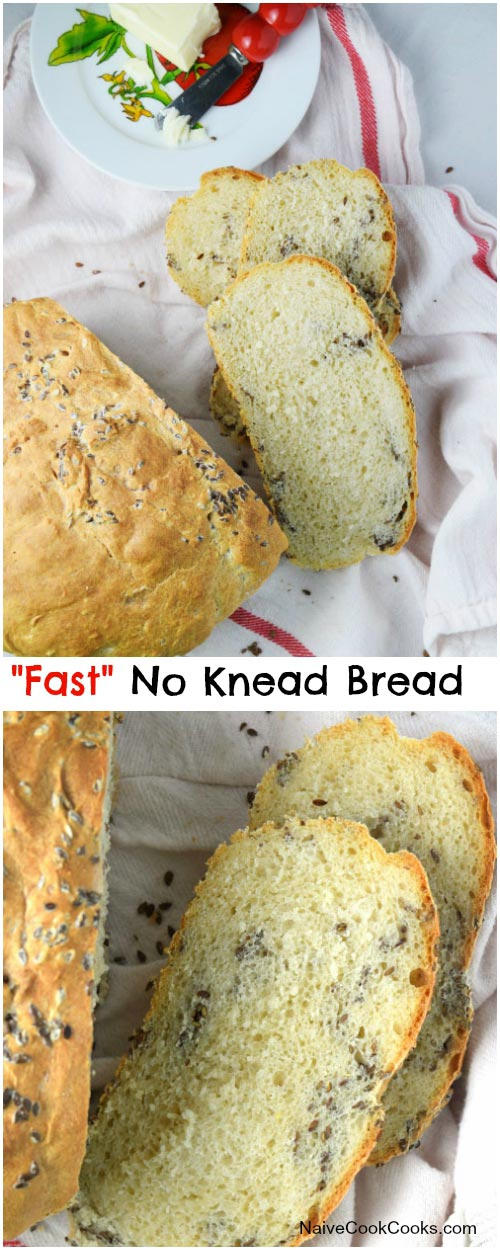 Fast No Knead Bread for Pinterest