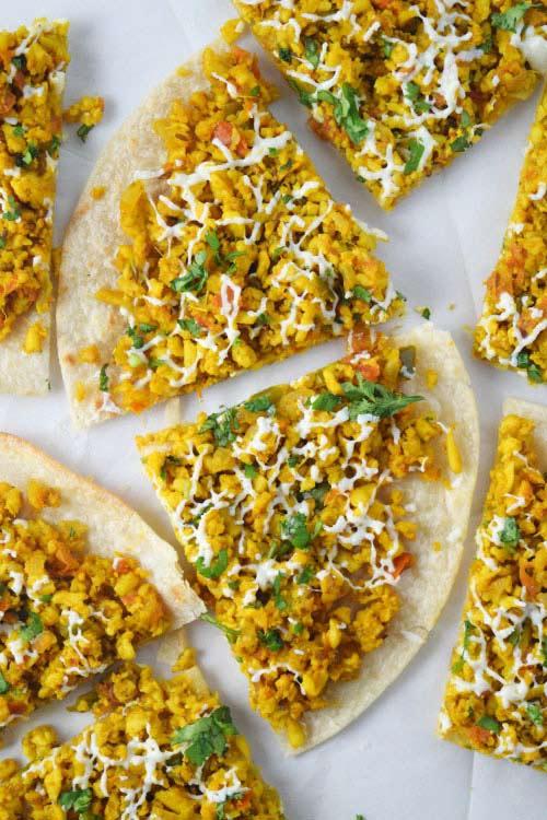 Paneer Bhurji Tortilla Pizza 1