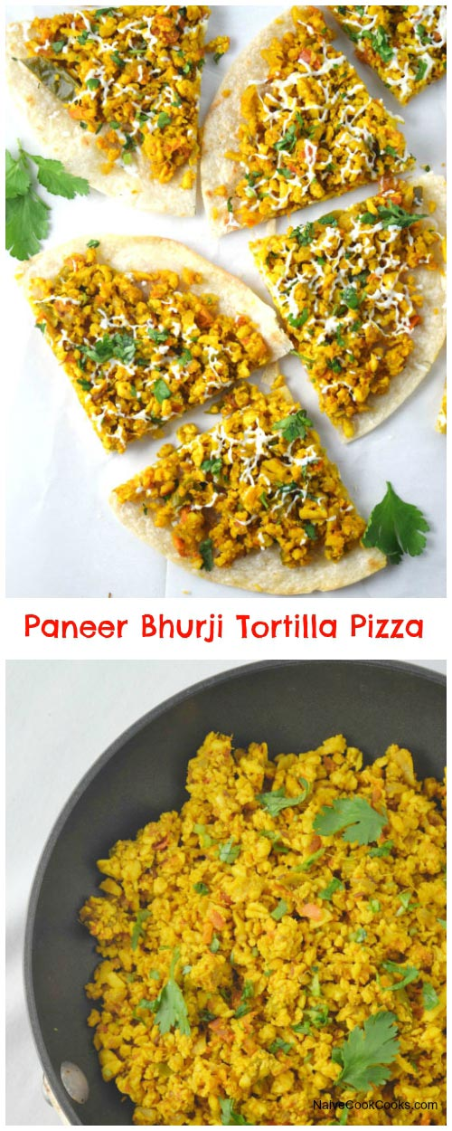 Paneer Bhurji Tortilla Pizza for Pinterest