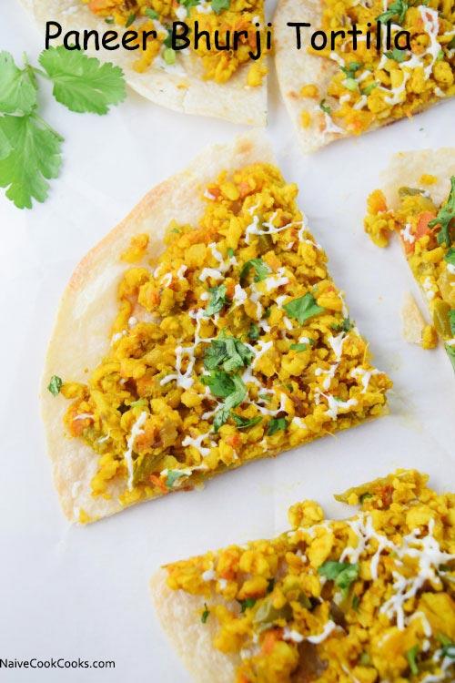 Paneer Bhurji Tortilla Pizza