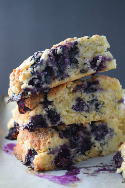 Stacked Best Glazed Blueberry Scones