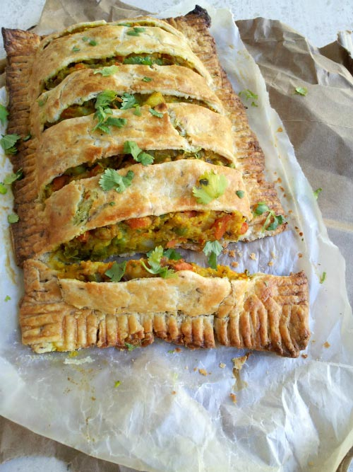 Family Style of Loaded Spicy Veggie Pie