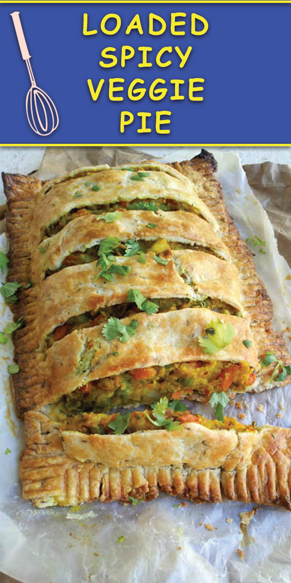 Loaded Spicy Veggie Pie : This delicious cumin scented buttery crust pie filled with a mouth watering veggie filling is perfect for holiday brunches/dinners and leftovers are great for quick grab & go breakfast!