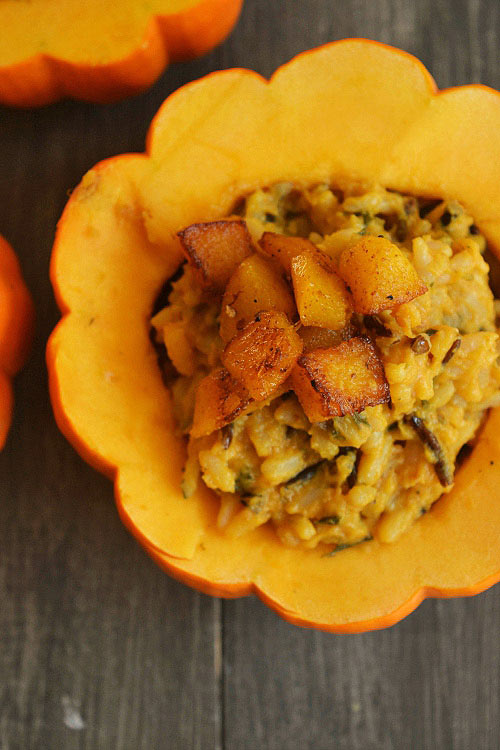 Roast Garlic Pumpkin Rice Stuffed In a Pumpkin