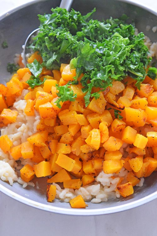 Butternut Squash Kale Risotto Being Cooked