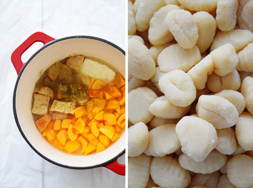 Ingredients for Lazy Pumpkin Gnocchi Soup