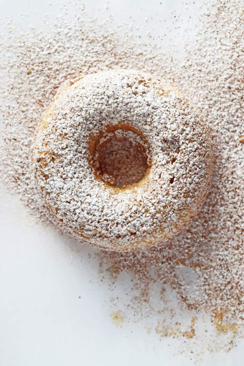 Apple Pie Cake Doughnut with Powdered Sugar
