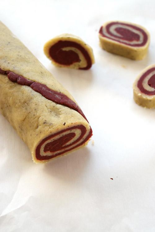 Red Velvet Sugar Cookie Dough Slices