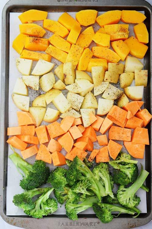 Tray of Veggies for Seasoned Roasted Vegetables