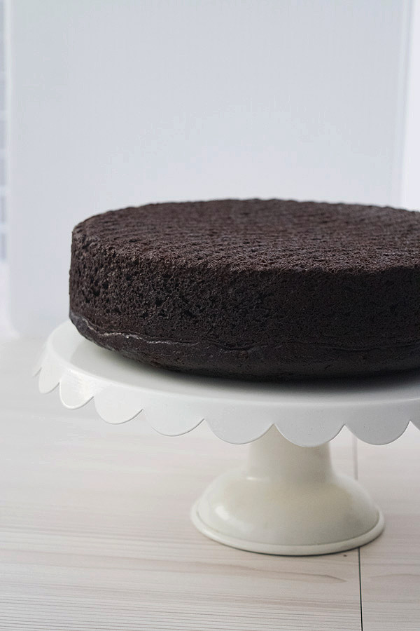 best simple chocolate cake ready to be iced