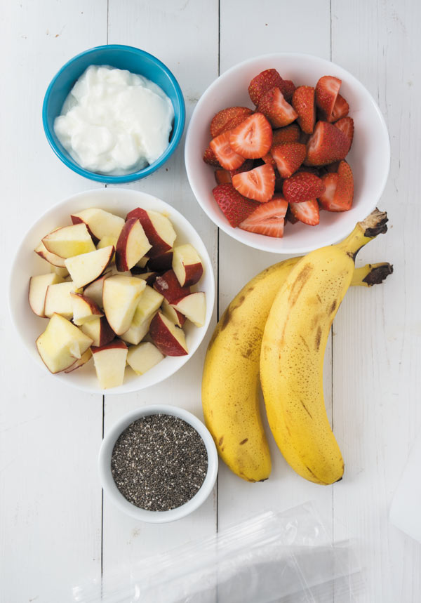 ingredients for freezer smoothie packets