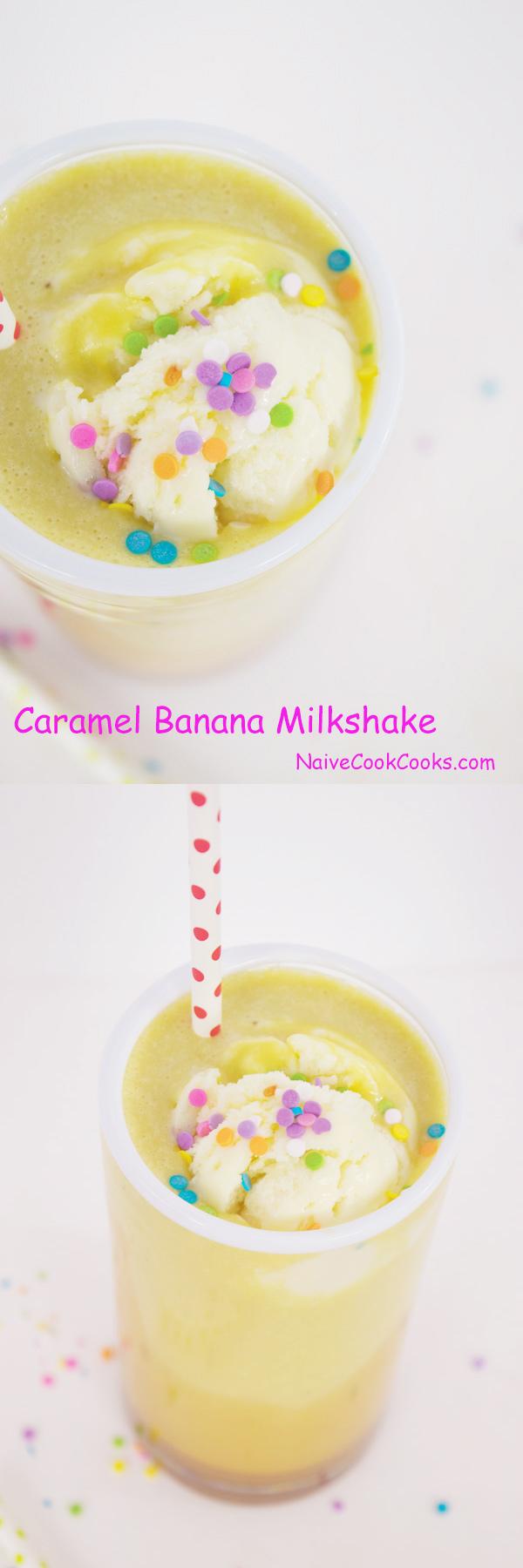 banana milkshake with caramel syrup
