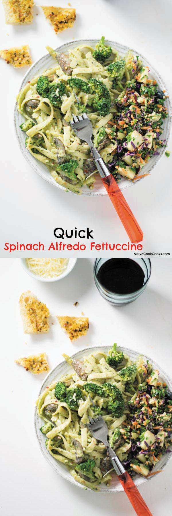 spinach alfredo fettucine