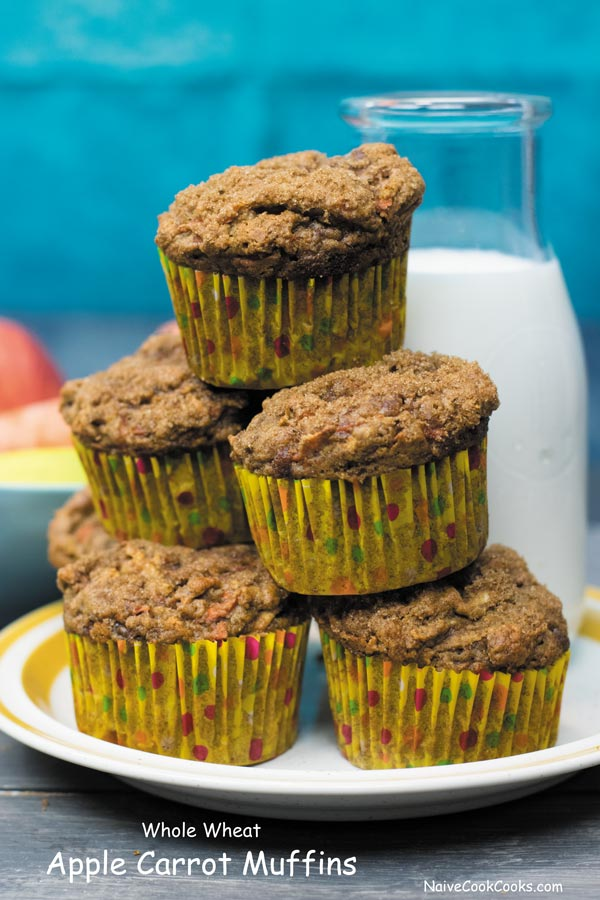 whole wheat carrot apple muffins 1