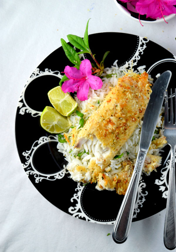 Parmesan crusted tilapia with cilantro lime rice1