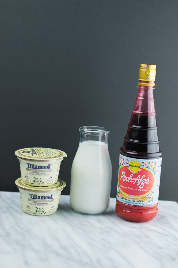 ingredients for rose lassi popsicles