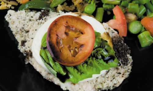 baked caprese chicken ready to eat