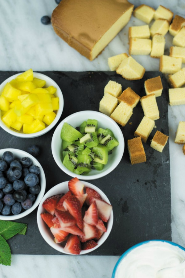 chopped fruits for trifle