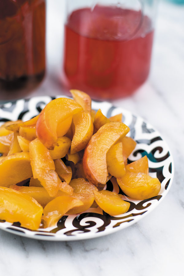 cooked peaches for peach iced tea