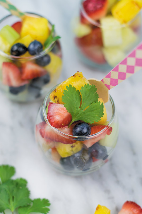 fruit salad with lime pepper dressing for summer