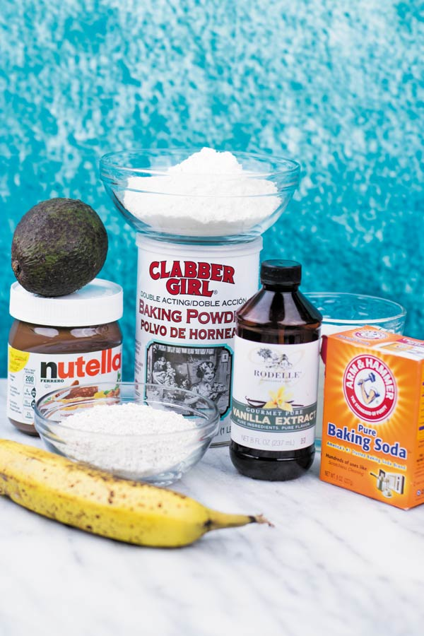 ingredients for nutella banana breakfast muffins