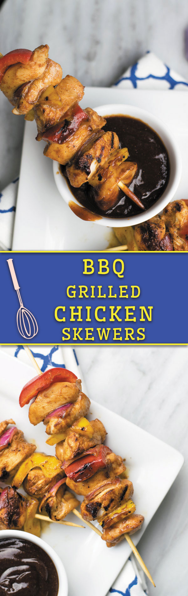 These Grilled BBQ CHICKEN SKEWERS are moist, perfectly seasoned and so good for summer grilling! OR make in oven and serve with a light salad!