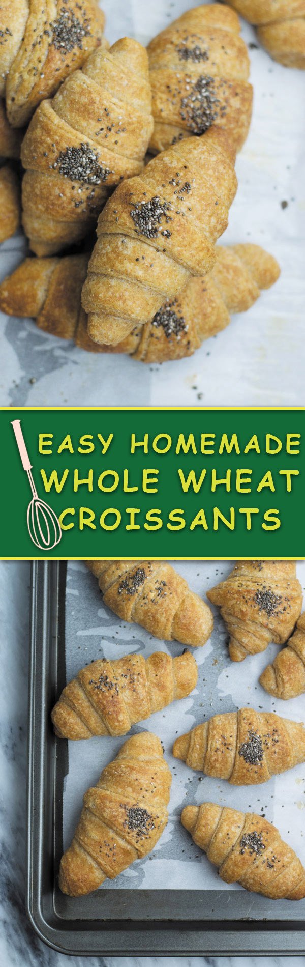 Easy Homemade Whole Wheat Croissants - a little healthier verion of regular croissants. These CROISSANTS are buttery, melts in mouth and so good that you will NEVER go bake to buying again!