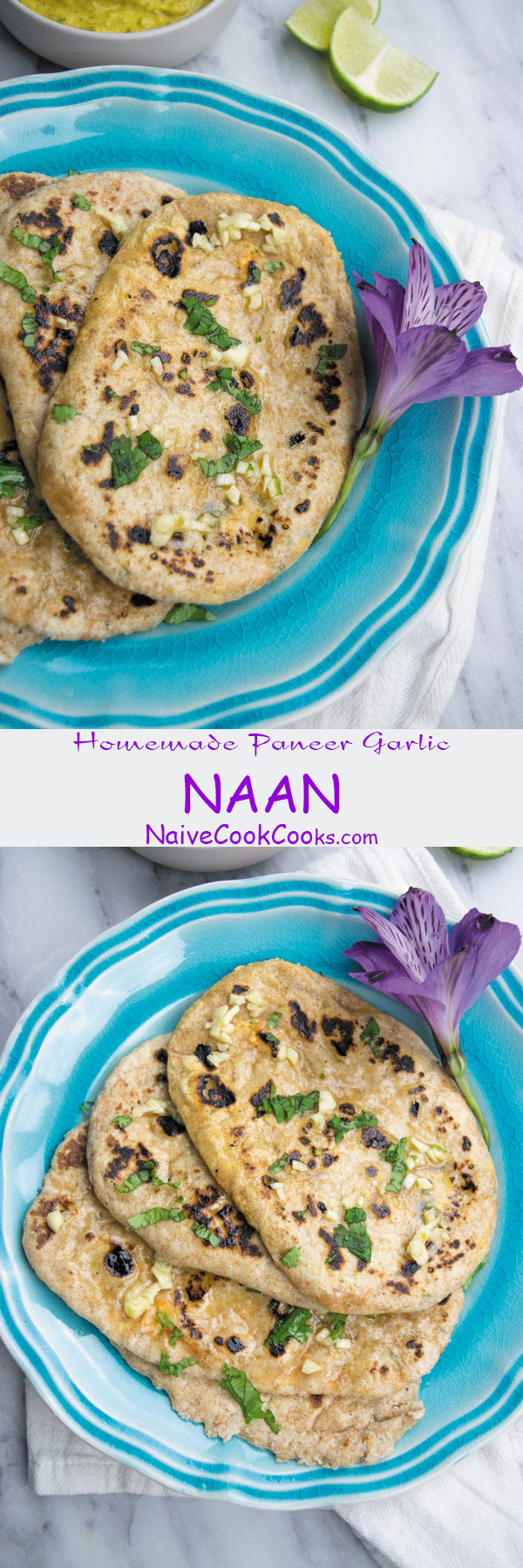 homemade paneer garlic naan long pin