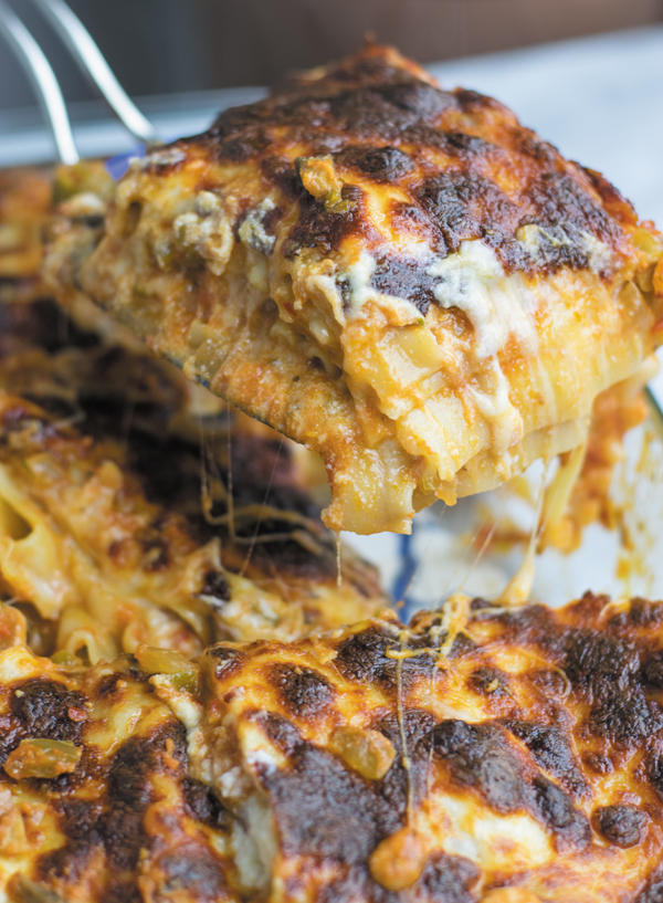 juicy slice of easy vegetarian lasagna