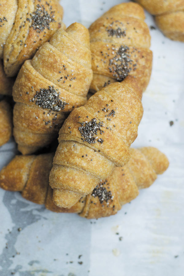 piled up whole wheat croissant