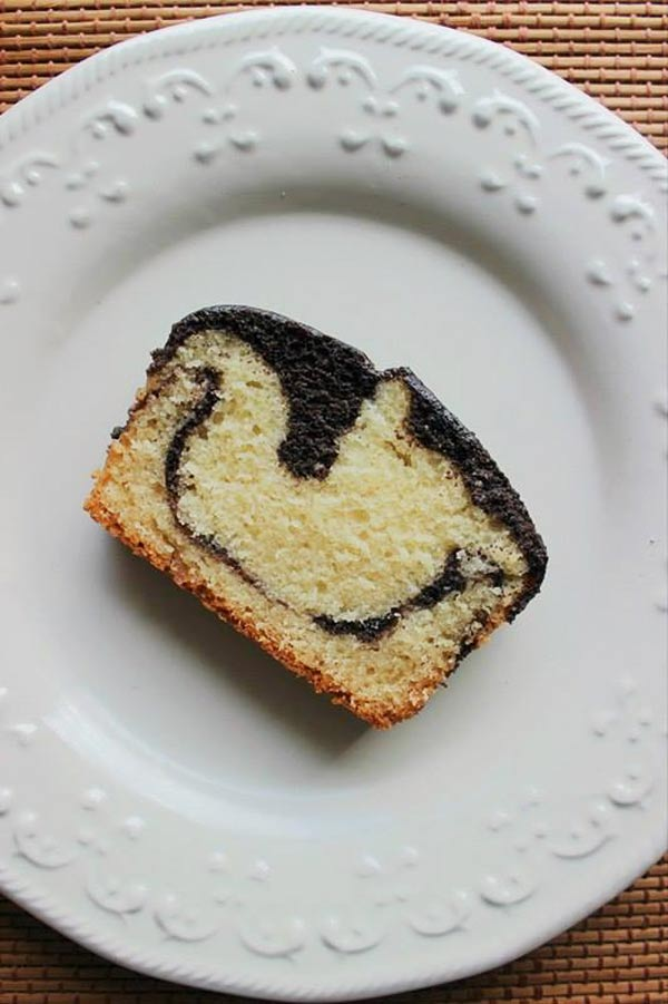 easy moist chocolate marble cake slice