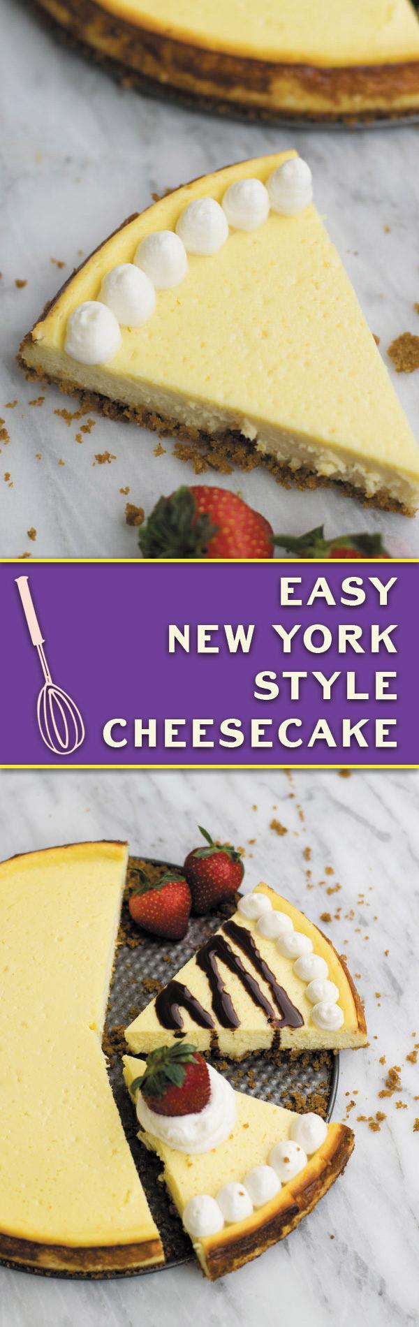 easy-new-york-style-cheesecake-recipe-pinterest