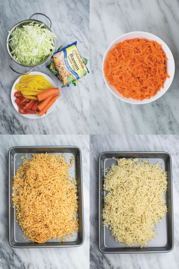 Spicy Schezwan Chowmein Noodles - cheap ramen noodles used without seasoning packets, with tons of fresh vegetables and spicy schezwan sauce. A quick 20 MINS dinner that will make everyone happy! You can even add meat/tofu to make it more filling!