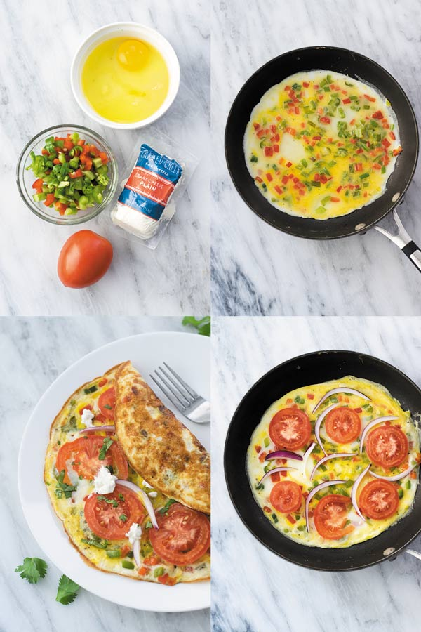 15 mins Veggie Omelette Recipe - a simple out of fridge meal, perfect for breakfast/lunch or dinner. This is one meal I cook when in no mood of cooking! Simple ingredients you will already have in fridge!