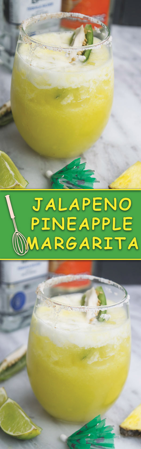 Jalapeno pineapple margarita - Jalapeno infused tequila, fresh pineapple, all blended into this fun margarita that is great for relaxing or for gatherings! Just 10 mins is what you need!