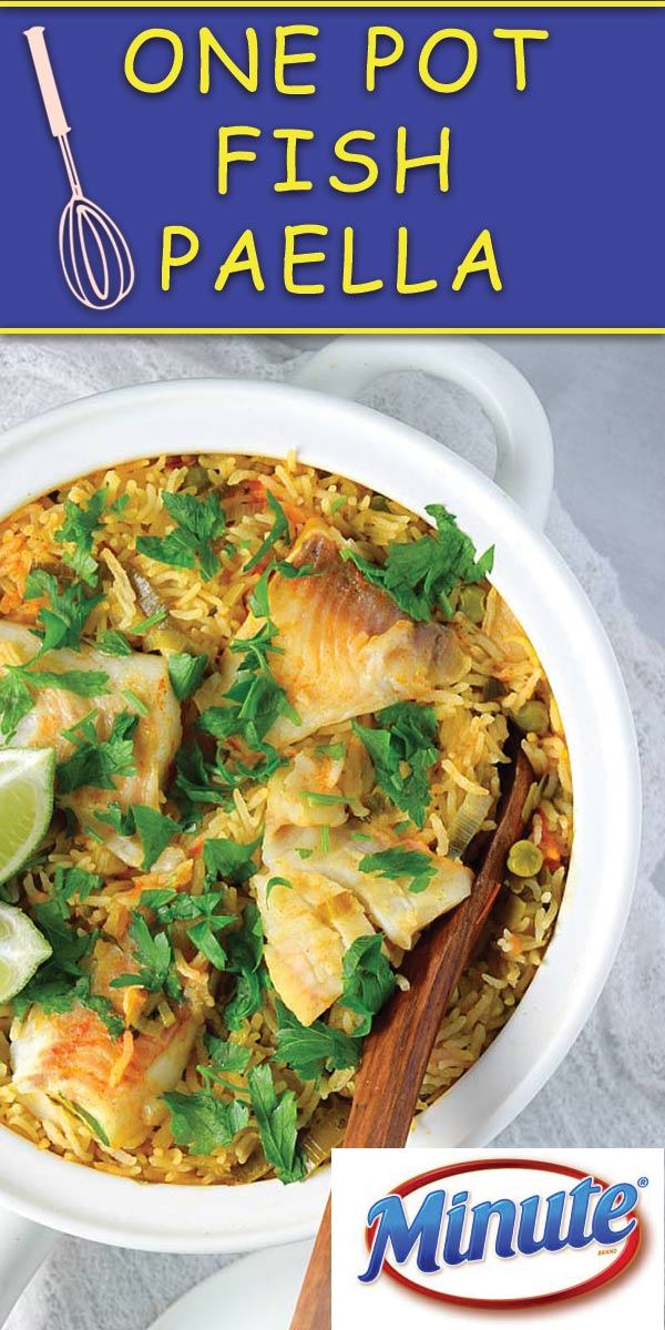 One Pot Fish Paella - This stupidly easy 30 mins, ONE POT FISH PAELLA with quick Minute Ready rice is full of flavors! Makes for a quick healthier dinner!