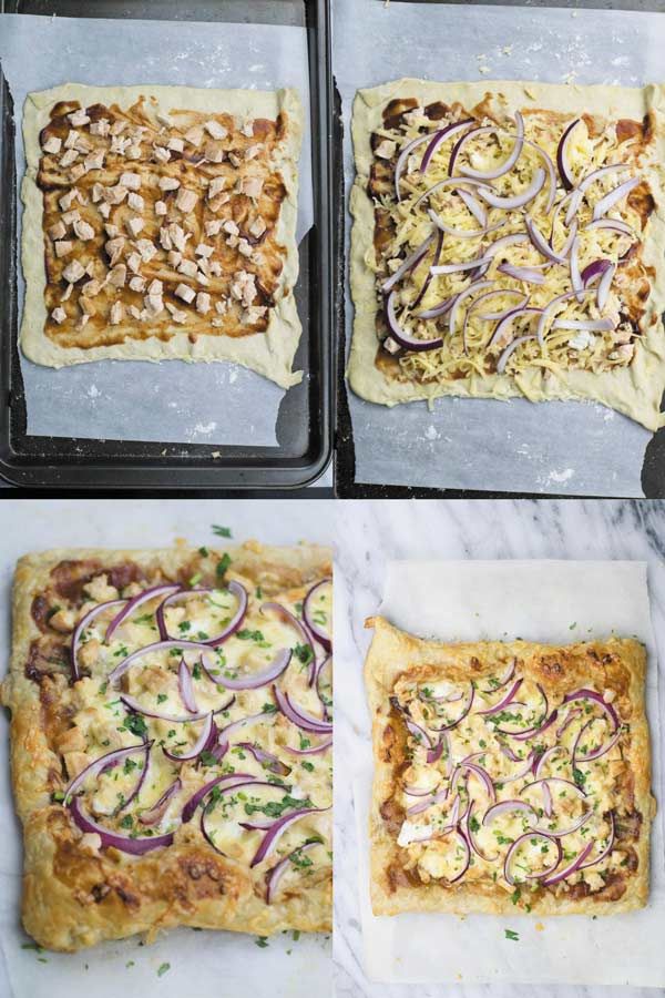 cpk inspired bbq chicken puff pastry pizza - Easy 30 MINS CPK copycat pizza. Use either puff pastry or homemade pizza crust. It tastes even better than CPK version :)