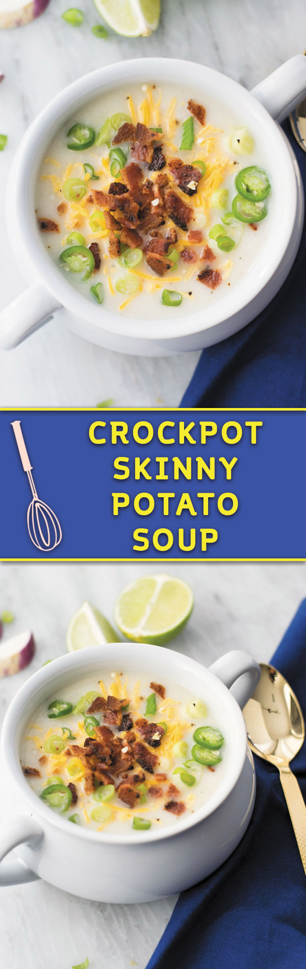 Crockpot skinny potato soup - Comforting CROCKPOT soup, lightened version of POTATO SOUP, mixed with cauliflower which even picky eater's can't tell! Perfect for an easy quick meal!